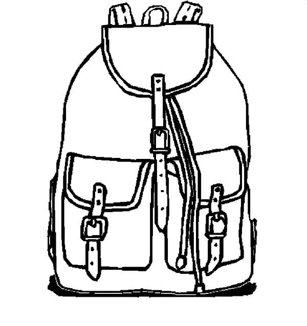 Backpack, : Picture of Backpack Coloring Pages