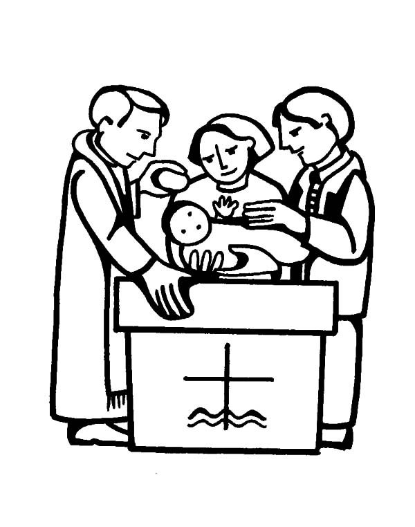 Baptism, : Pouring Water at Baptism Coloring Pages