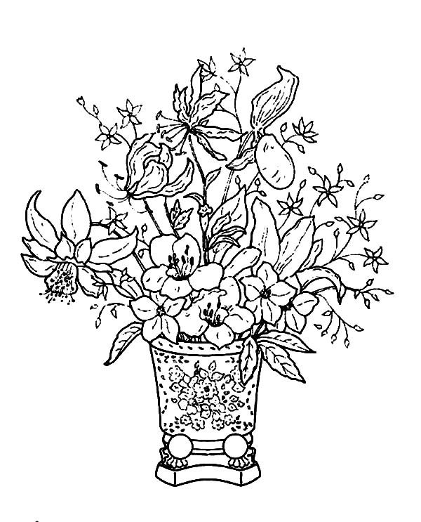 Basket of Flowers, : Pretty Classical Basket of Flowers Coloring Pages