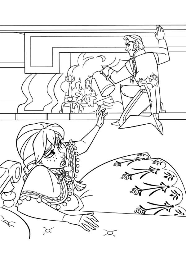 Anna, : Prince Hans Put Off the Fire to Hurt Princess Anna Coloring Pages