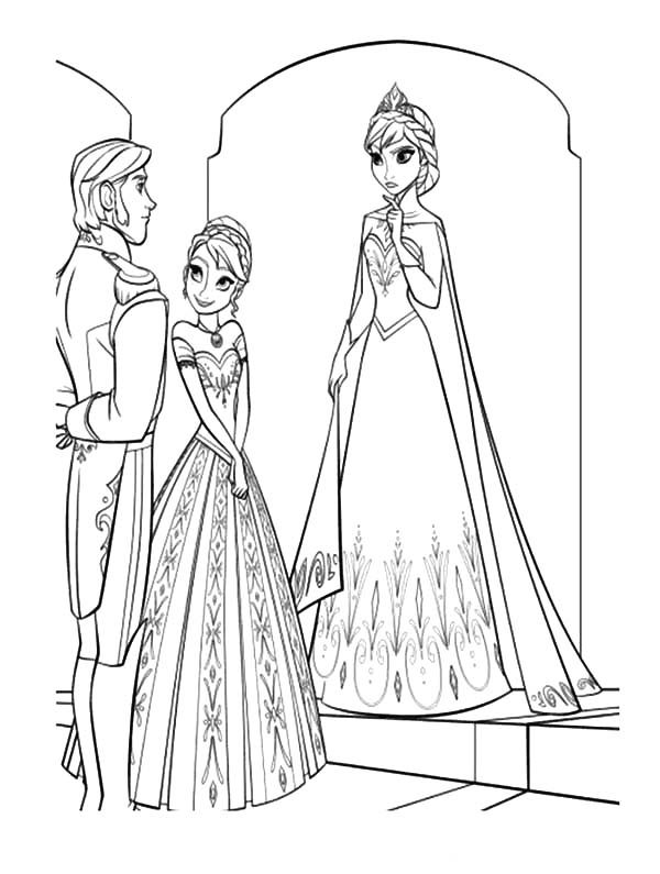 Anna, : Princess Anna Introduse Prince Hans to Queen Elsa Coloring Pages