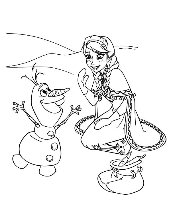 Anna, : Princess Anna Meet Olaf for the First Time Coloring Pages