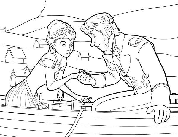 Anna, : Princess Anna Meet Prince Hans Coloring Pages