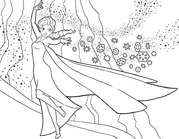 princess anna sistes queen elsa magic power coloring pages - Queen Elsa Coloring Page