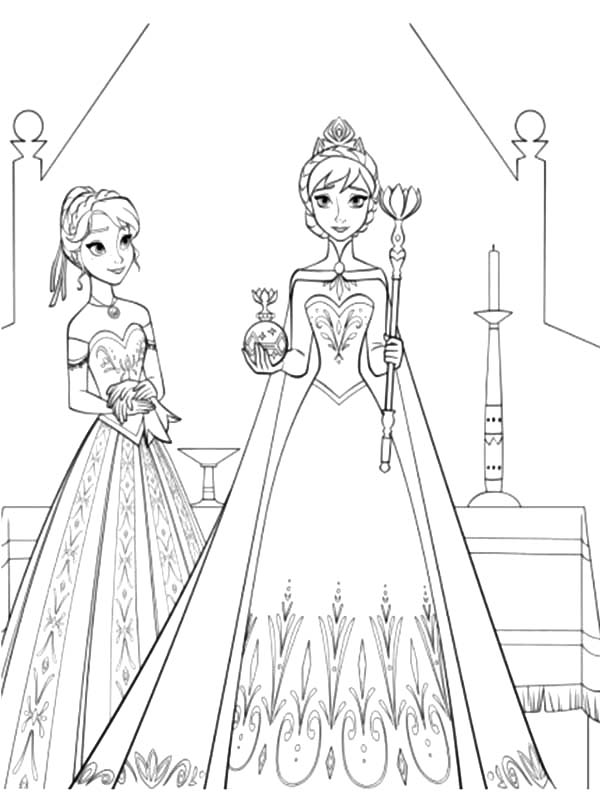 ... Anna Standing Beside Queen Elsa Coloring Pages: Princess Anna Frozen Coloring Pages Young Anna