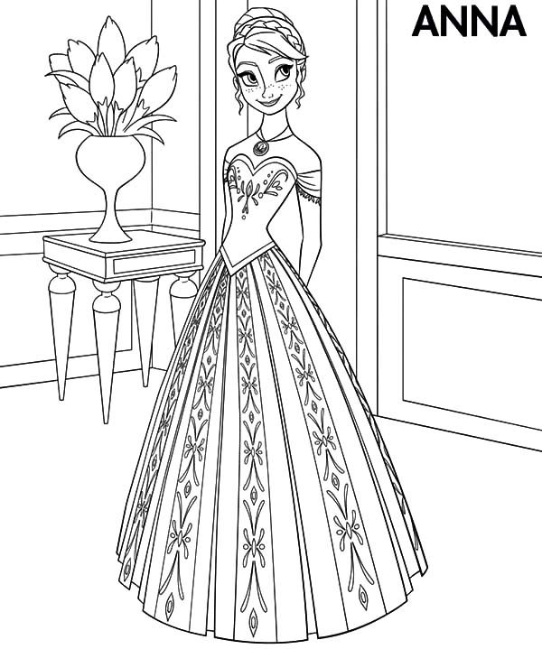 Princess Anna Wear Beautiful Dress Coloring Pages | Best Place to Color