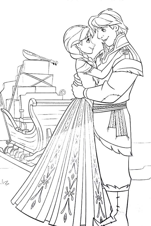 Anna, : Princess Anna and Kristoff from Frozen Coloring Pages