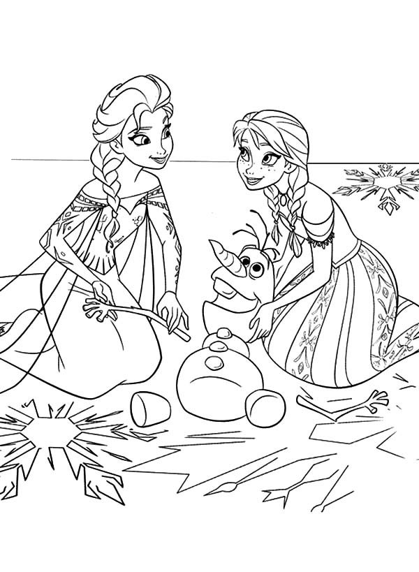 Anna, : Princess Anna and Queen Elsa Fix Olaf the Snowman Coloring Pages
