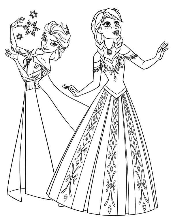 Princess Anna And Queen Elsa From Frozen Coloring Pages Frozen Princess Pictures To Color Printable