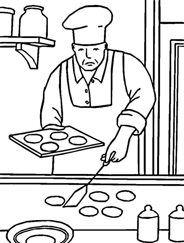 Baking Cookies, : Professional Chef Baking Cookies Coloring Pages