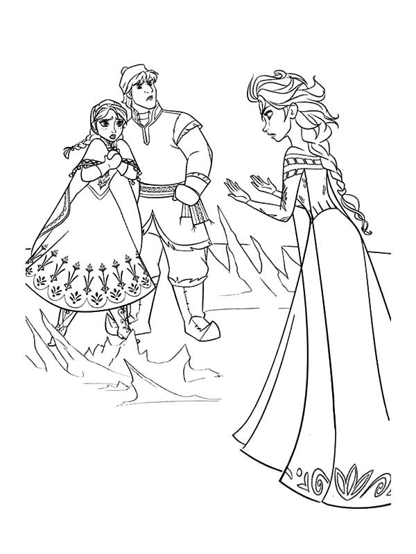 Anna, : Queen Elsa Doen Not Mean to Hurt Princess Anna and Kristoff Coloring Pages