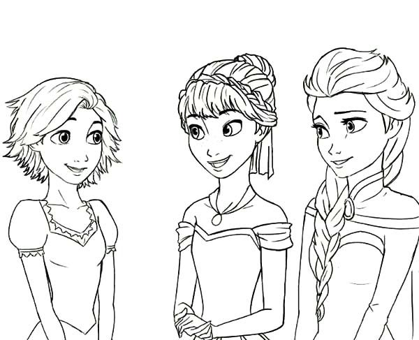 Anna, : Rapunzel is Princess Anna and Queen Elsa Cousin Coloring Pages