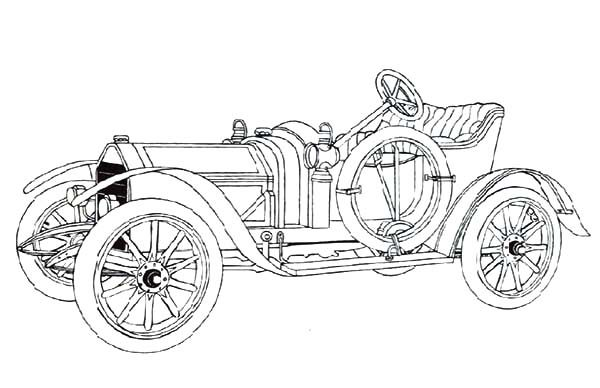 Antique Car, : Rare Antique Car Collection Coloring Pages