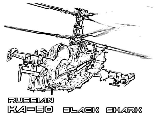 Russian KA 50 Black Shark Apache Helicopter Coloring Pages