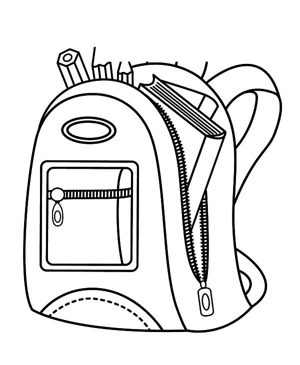 Backpack, : School Backpack Contain with Book and Pencil Coloring Pages