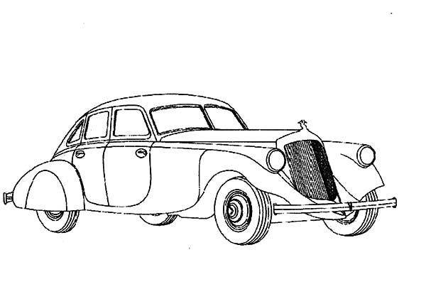 Antique Car, : Semi Modern Design Antique Car Coloring Pages