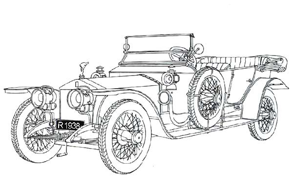 Antique Car, : Silver Ghost Rolls Royce Antique Car Coloring Pages