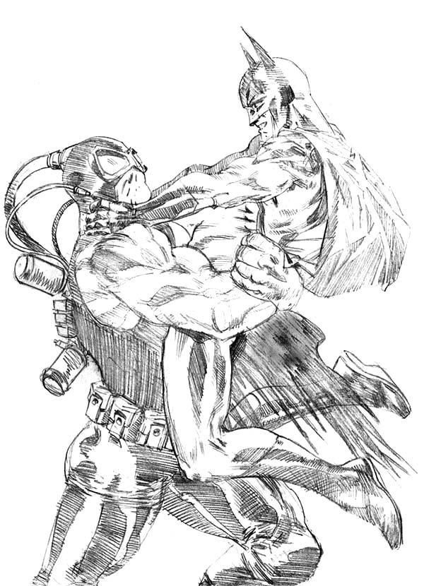 sketch bane batman fighting coloring pages