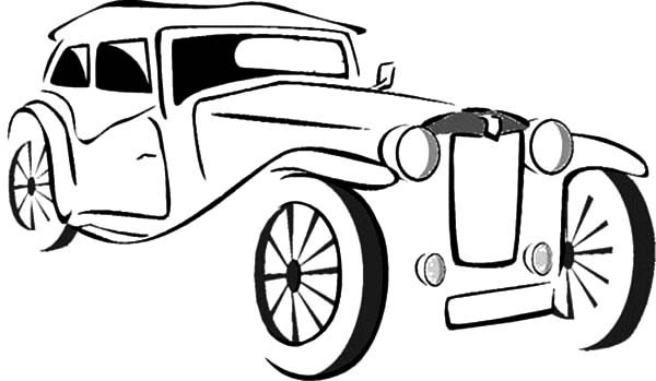 Antique Car, : Sketch of Antique Car Coloring Pages