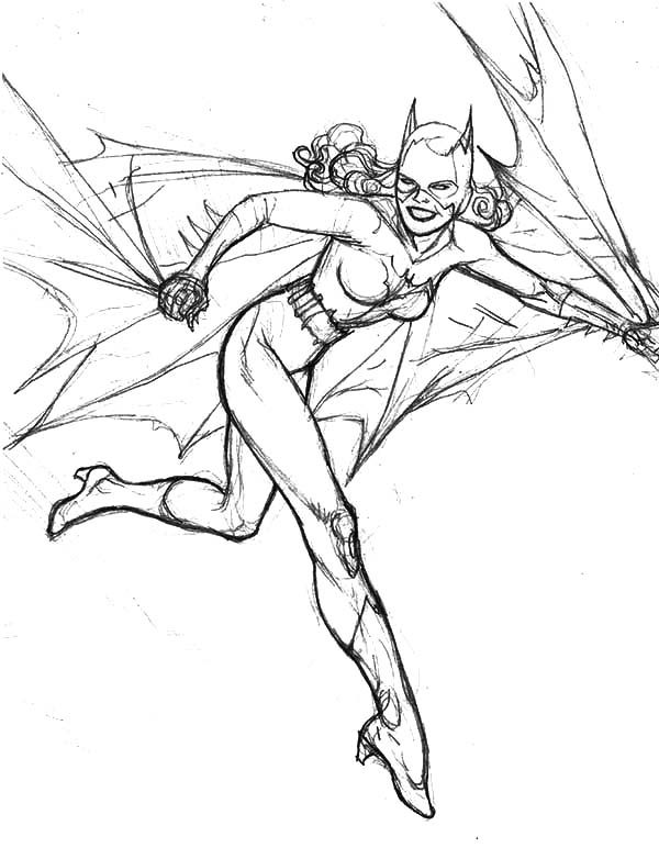 Batgirl, : Sketch of Batgirl Coloring Pages