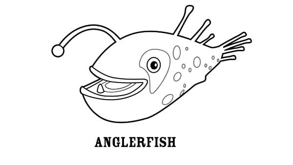 Angler Fish, : Smiling Angler Fish Coloring Pages