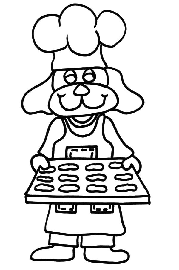 Baking Cookies, : Smiling Puppy Baking Cookies Coloring Pages