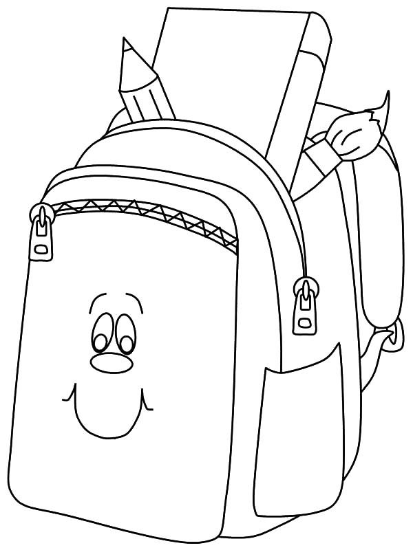 Backpack, : Smilling Full of Book Backpack Coloring Pages