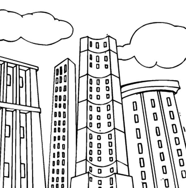 Apartment, : Tall Apartment Building Coloring Pages