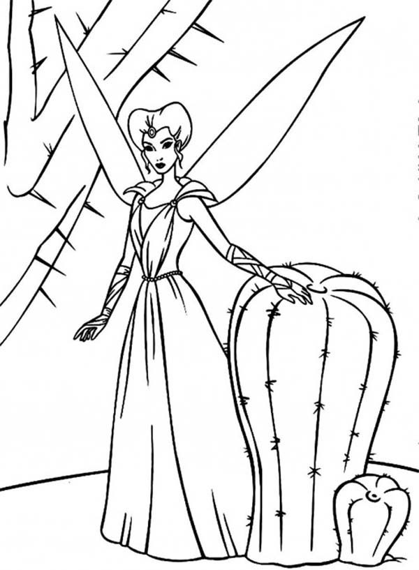Barbie Fairytopia, : The Enchantress a Beautiful Fairy Standing Beside Cactus in Barbie Fairytopia World Coloring Pages