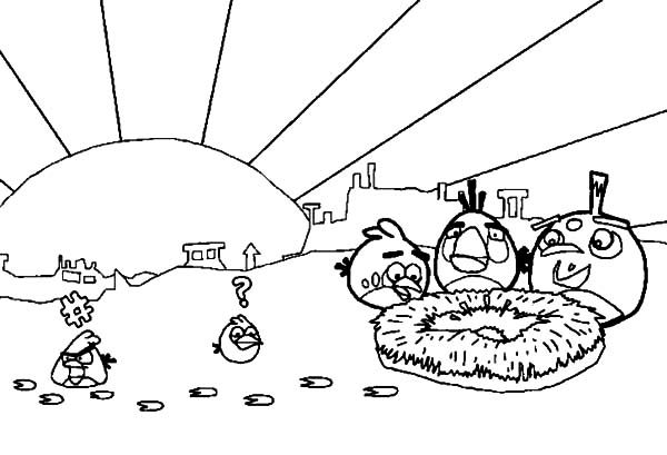 Angry Bird, : The Pigs Stole Angry Bird Eggs Coloring Pages