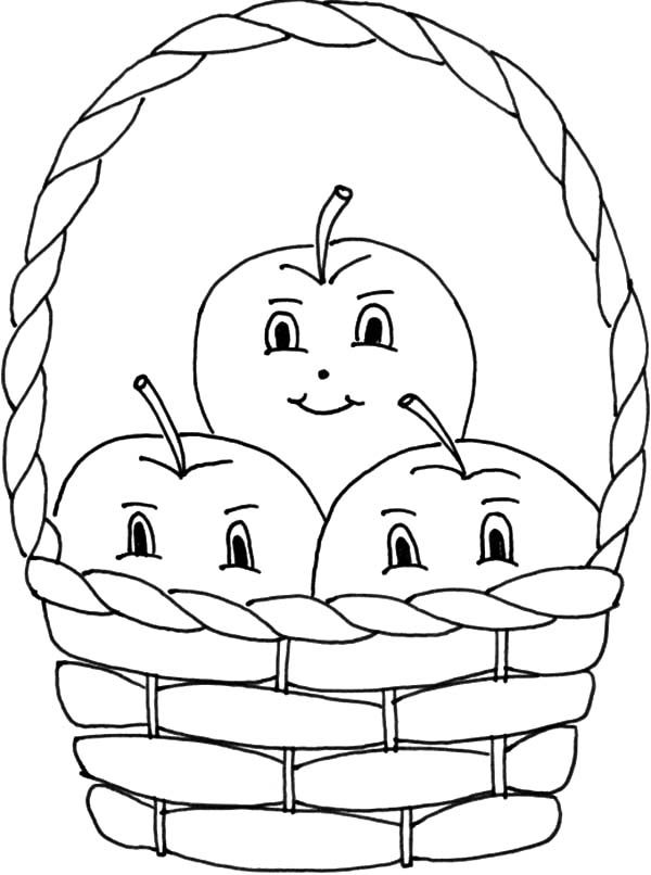 91 Coloring Pages Apple Basket