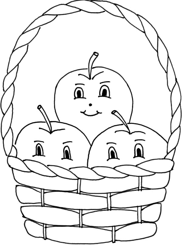 Apple Basket Three Smile Inside Coloring Pages