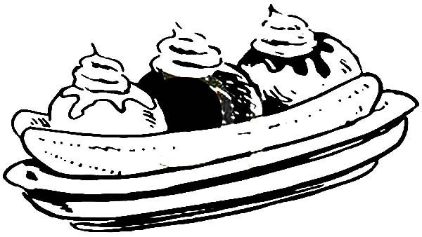 Three Flavour Banana Split Coloring Pages Best Place to Color