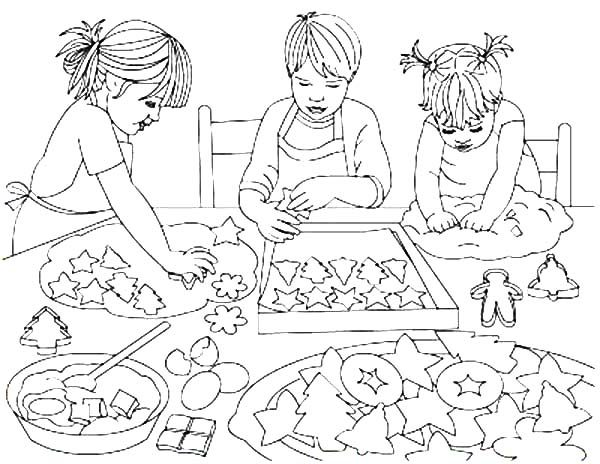 Baking Cookies, : Three Kids Baking Cookies Coloring Pages