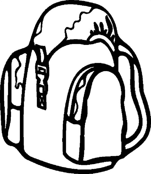 Backpack, : Traveller Backpack Coloring Pages