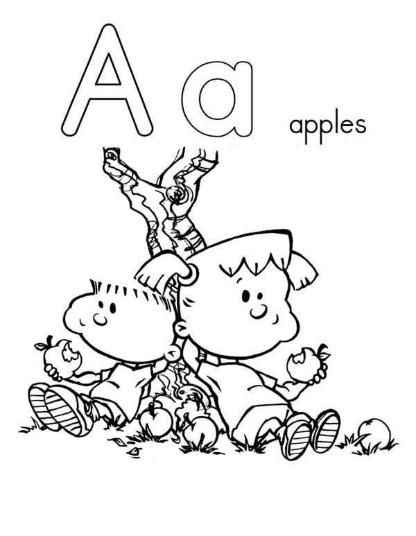 Letter A, : Two Kids Eat Apple on Learning Letter A Coloring Page
