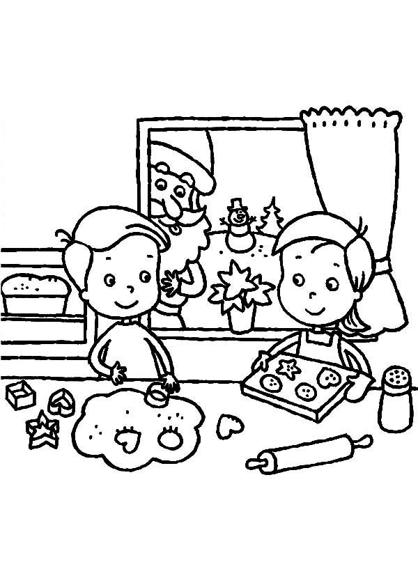 Baking Cookies, : Two Kids are Baking Cookies for Christmas Celebration Coloring Pages