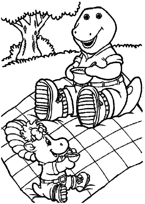 Barney, : Vacation of Baby Bop and Barney Coloring Pages