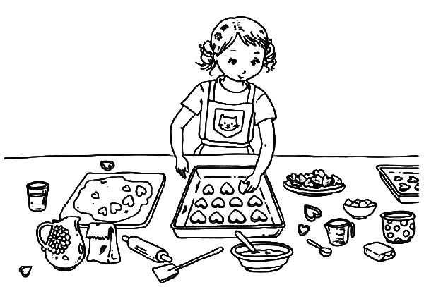 Baking Cookies, : Valentines Day Baking Cookies Coloring Pages