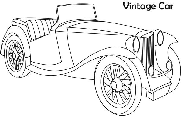 Antique Car, : Vintage Antique Car Coloring Pages