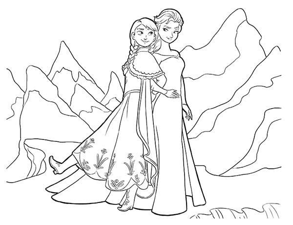 Walt Disney Queen Elsa And Princess Anna Coloring Pages