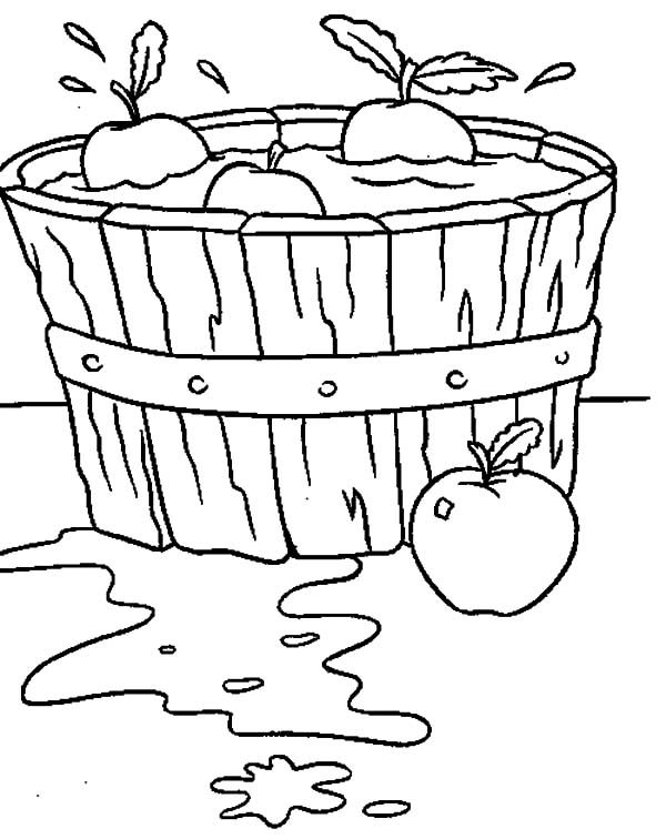 Washing Apple With Basket Coloring Pages