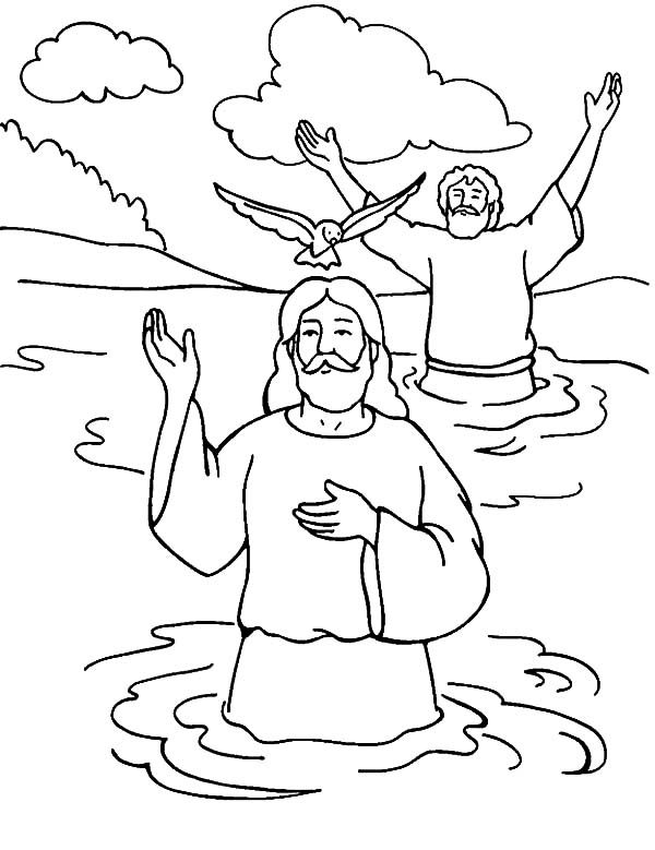 Baptism, : Welcoming Holy Spirit in Baptism of Jesus Coloring Pages