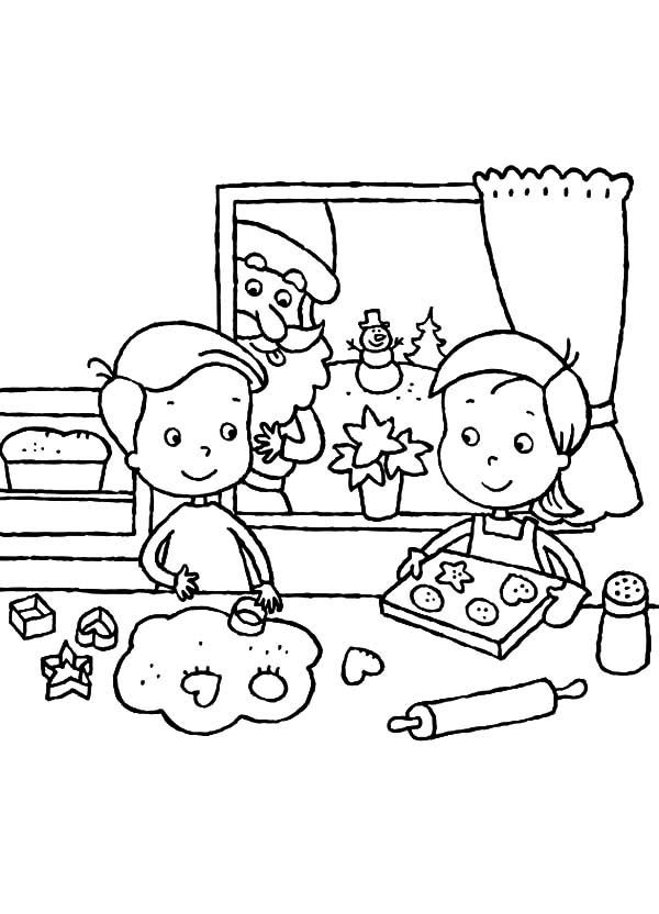Baking Cookies, : Two Kids Baking Cookies Together Coloring Pages 2