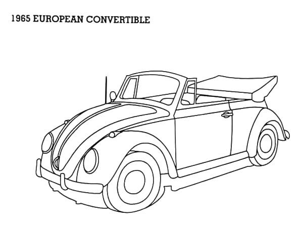 1965 european convertible beetle car coloring pages