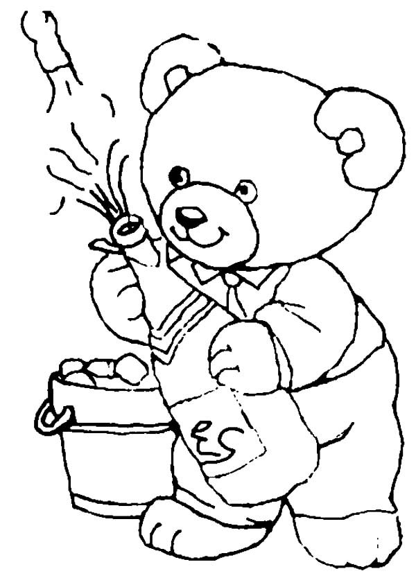 Beer, : A Bear Open the Beer Bottle for New Year Party Coloring Pages