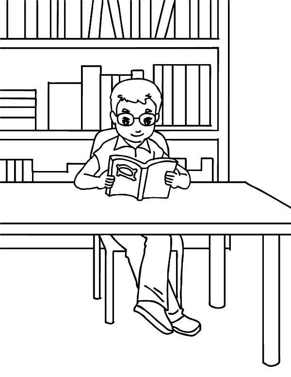 Bookshelf, : A Boy Read a Book in Front of Bookshelf Coloring Pages