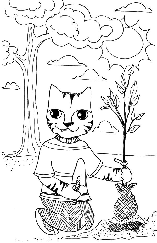 A cat plant a tree on arbor day coloring pages