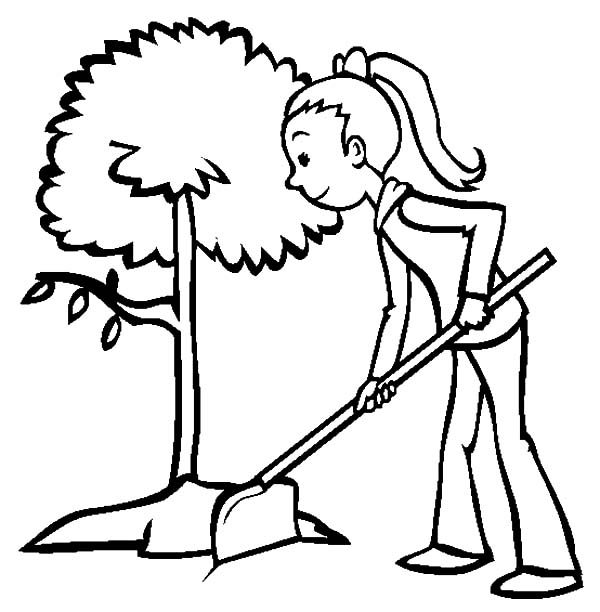Arbor Day, : A Girl Plant a Tree on Arbor Day Coloring Pages
