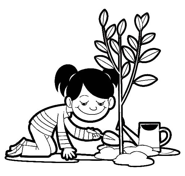 a girl planting a tree on arbor day coloring pages - Plant Coloring Pages